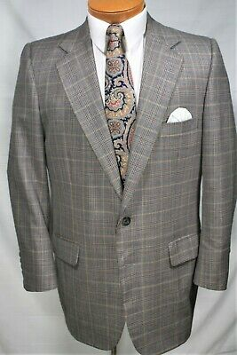 Men's CUSTOM TAILORED Blazer 40 R GRAY GOLD BROWN  PLAID CHECK Jacket Sport Coat