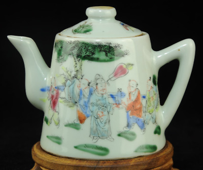chinese Famille-rose porcelain hand painted ancients teapot Tongzhi Qing /Db01J