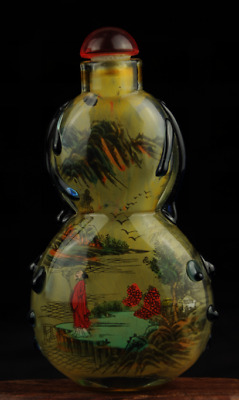 china old hand-made coloured glaze hand painted landscape snuff bottle Aa02J