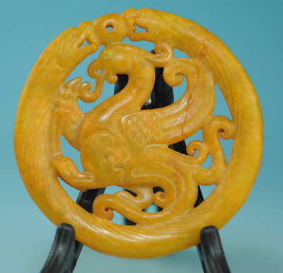 Collection chinese old jade Handwork phoenix Statue antique amulet pendant 0217