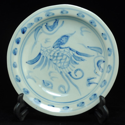 china old handmade blue and white porcelain Hand painted bird antique dish Bb01J