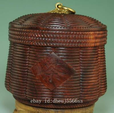 China Red Sandalwood Carved cylindrical Jar Pot Kettle Tea Canister Caddy Ae01J