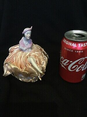 Antique  Art Deco Porcelain Pin Doll & Cushion , In Perfect Condition Stunning