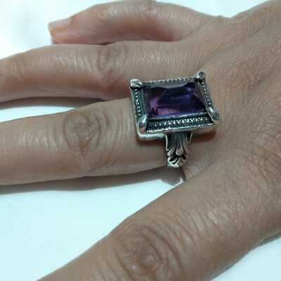 Ancient  Victorian Silver Ring Beautiful  Stone Amethyst Rare Old vintage gypsy