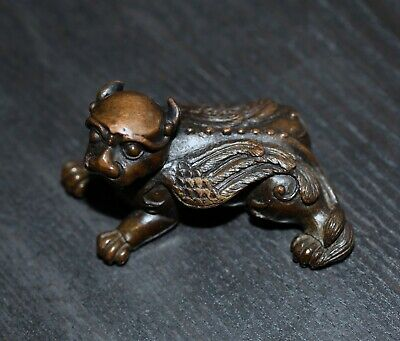 Antique Chinese bronze monster scroll weight, 19th century. Qing Dynasty, RARE.