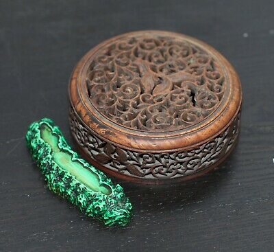 Antique Chinese rare hardwood jar Lid and carved rock stand, Qing Dynasty, FINE.