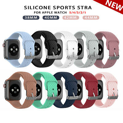 Silicone Sport Soft Strap iWatch Band For Apple Watch Series 5 4 3 2 1 38/42mm