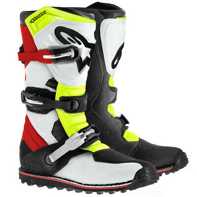 Alpinestars Tech-T Trials Boots - White Red Flo Yellow Black