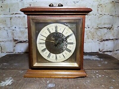 Vintage German Mantel Clock: Non Functioning: For Parts Or Display: See Pics