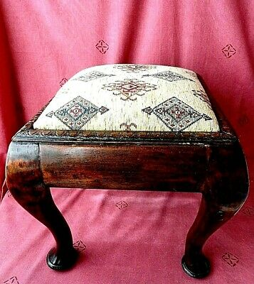 Old Heavy 4 kg.Vintage Solid Wood Footstool Foot Rest Stool Ottoman 35x35x30 cm.