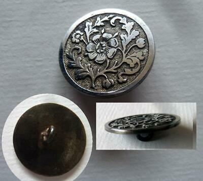 Flat Steel Floral Design Tinted Background 1 Inch Antique Button