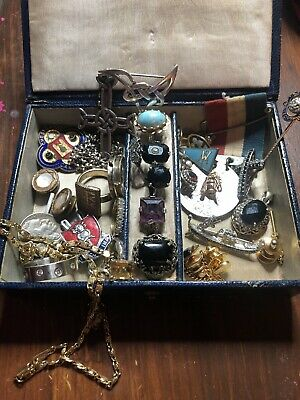 Job Lot of ANTIQUE +sterling SILVER /rings Brooches Edwardian/Victorian WW1