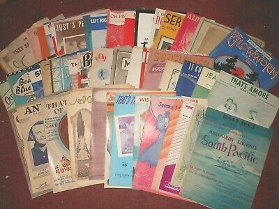 Lot of 50 Vintage Sheet Music Various Genre from Early to Middle 1900's
