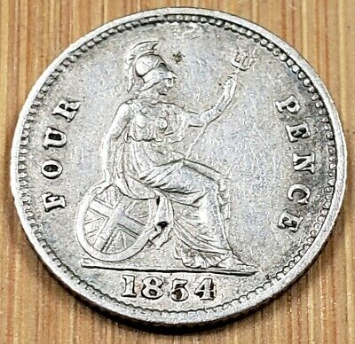 1854 Great Britain Four Pence SILVER coin -  Victoria