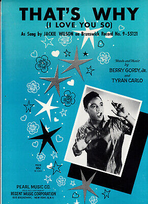 JACKIE WILSON  - Sheet Music - That's Why