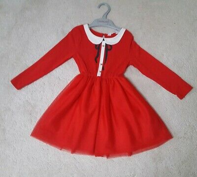 H&M Girls Pretty Red Black White  Christmas  Bow Dress Outfit Age 2 -4 Years