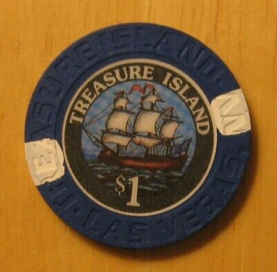 $1 Treasure Island 1st Issue Parrot Pirate Ship Las Vegas NV Casino Chip UNC