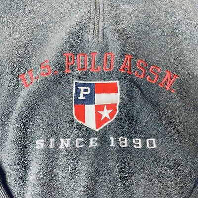 US Polo Assn Mens Size Large 1/4 Zip Long Sleeve Fleece Pullover Gray Spell Out