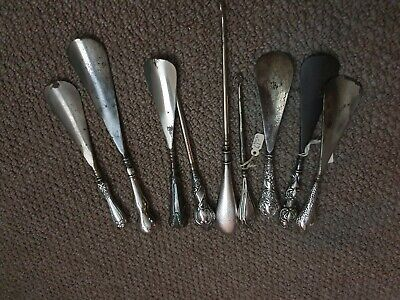9 Antique Silver Shoe Horns and button hooks