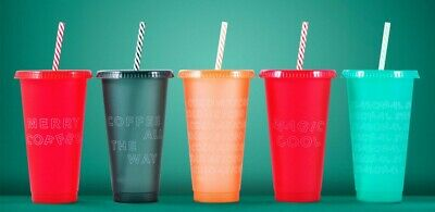 New! Starbucks 2019 Multicolor Reusable Cold Cup Set (5-Pack, 24 Oz Each)