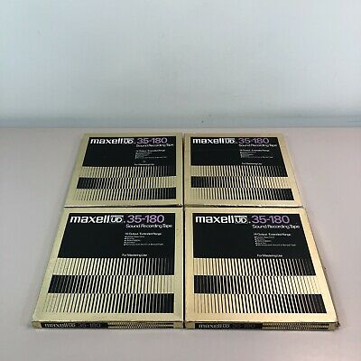"""LOT of 4 Vintage Maxell Ultra Dynamic 35-180 10"""" Sound Recording Tape Metal Reel"""