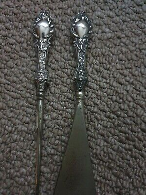 SOLID SILVER HANDLED SHOE HORN AND BUTTON/BOOT HOOK antique