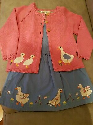 Jojo maman bebe 3-4 Girls Duck Pinafore Dress and Cardigan. Lovely condition