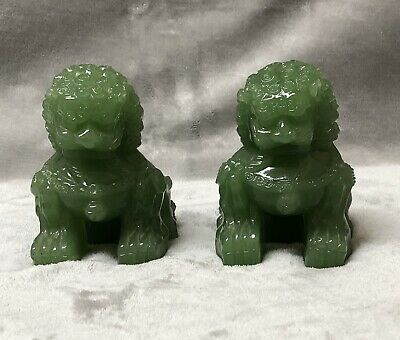 Hand Carved Green Jade Foo Lion Dog Hardstone Stone Sculpture Heavy
