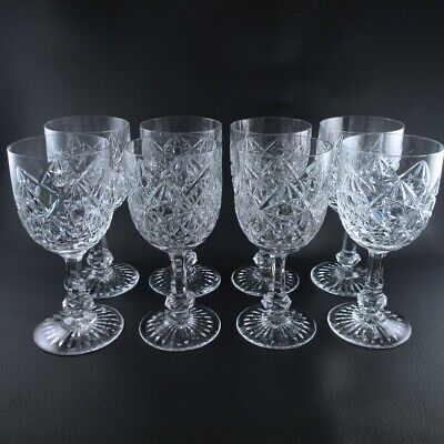 Antique BACCARAT Crystal Star Cut Set of 8 Water or Wine Glasses like Colbert