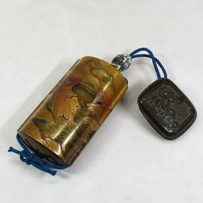 E582: Real old Japanese lacquered pillbox INRO with MAKIE, NASHIJI and NETSUKE