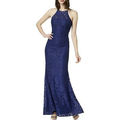 Betsy & Adam Womens Blue Beaded Lace Halter Formal Dress Gown 2 BHFO 2428