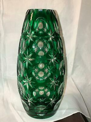 Antique Bohemian Czech Emerald Green Cut Crystal to Clear Vase Vtg