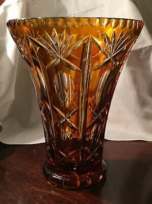 Antique Bohemian  Amber Cut Crystal to Clear Czech Art Glass Trumpet Vase Vtg