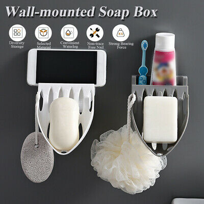 Self Adhesive Soap Holder Rack Wall-Mounted Drainable Soap Dish for Bathroom  G