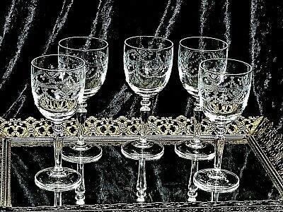 Exquisite Antique Hand Needle Etched Crystal Wine Glasses Victorian Swag Set  5