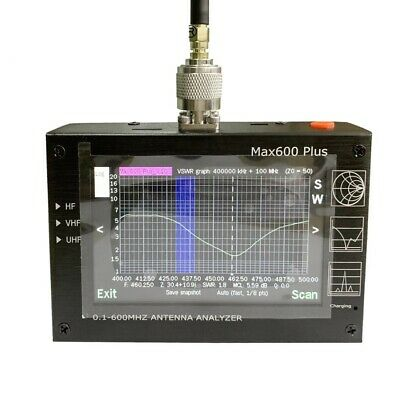 "Max600 Plus HF/VHF/UHF Antenna Analyzer 0.1-600MHZ w/ 4.3"" TFT LCD Touch Screen"