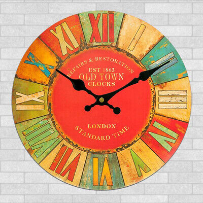 Rustic Wooden Large 30cm Clock Vintage Retro Wall London Old Town Decor