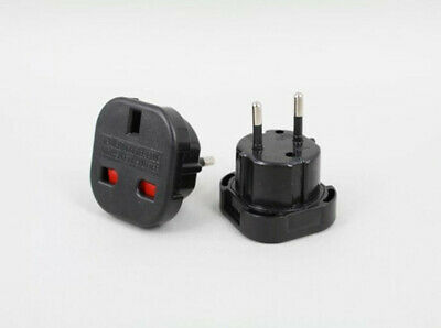 Black UK 3-Prong To EU 2-prong Socket Plug Power Adapter Travel Adaptor