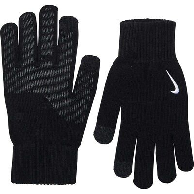 Nike Knitted Tech Knit Grip Gloves Boys Youth Touch Screen compatible Black Wht