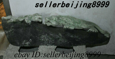 Collect Chinese Natural Dushan Jade Stone Carving Animal Lizard Chameleon Statue