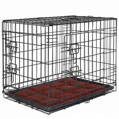 Dog Crate Cage Foldable With Mat Travel Medium New