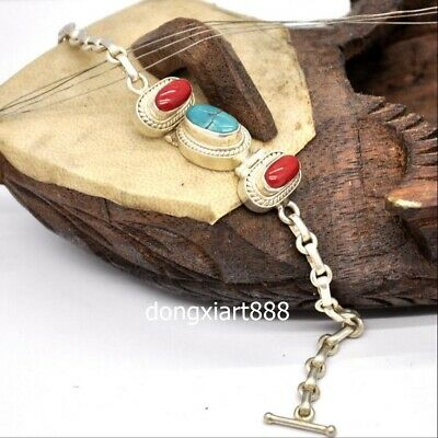Tibet tribe jewelry pure silver inlay coral turquoise Hand chain bracelet bangle
