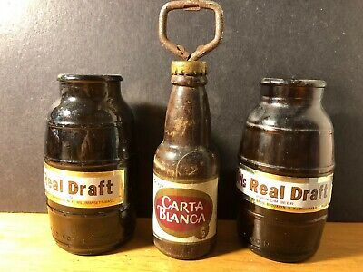 Vintage PIELS Draft Beer Bottles & Carta Blanca Cerveza Wood Bottle Opener