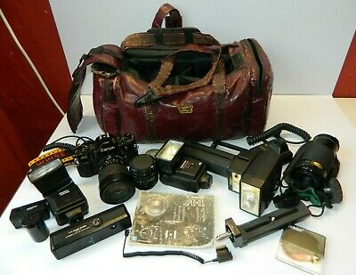 Vintage Canon A-1 Camera with Accessories/Lenses/Bag