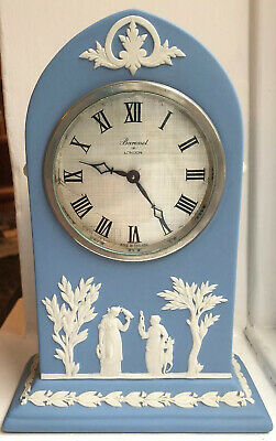 Wedgwood blue Jasperware Mantle Clock. Collectable.BARONET OF LONDON