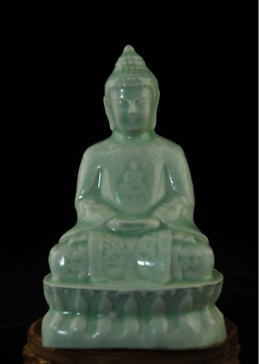 china old Green glaze porcelain handmade Buddha lotus base statue Ab01J