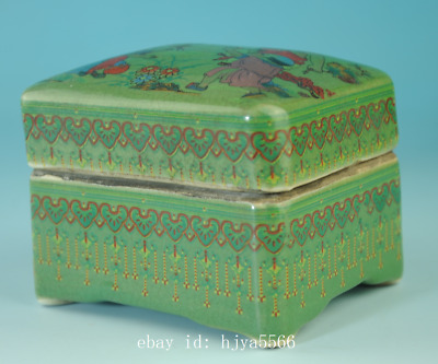 china old green glaze porcelain hand-made child box /qian long mark Cb01J