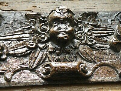 EXCEPTIONAL  ANTIQUE 17th C. DEEP RELIEF CARVED OAK PANEL RADIATING WINGED PUTTO