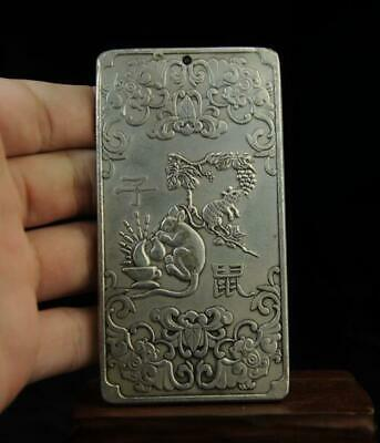 Old tibet Copper plating silver Chinese Zodiac rat statue amulet thangka