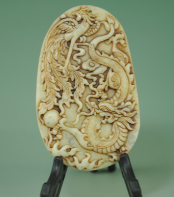 Chinese old jade hand carved Dragon phoenix Statue amulet antique pendant 0304J